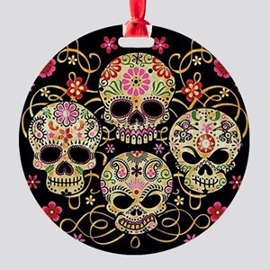 Sugar Skulls III Round Ornament