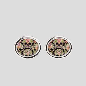 Sugar Skulls III Oval Cufflinks