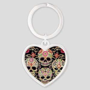 Sugar Skulls III Heart Keychain
