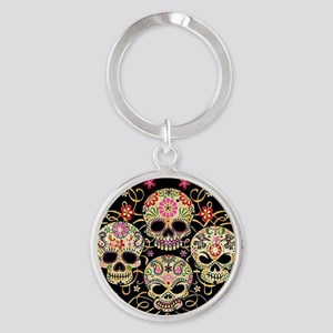 Sugar Skulls III Round Keychain