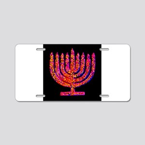 Pink Black Menorah 4Hanna Aluminum License Plate