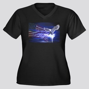 Eagle Storm Women's Plus Size V-Neck Dark T-Shirt