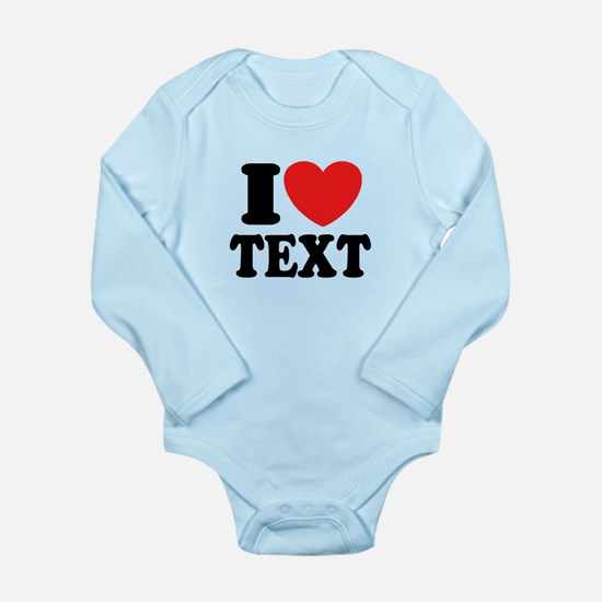 I Heart Personalized Long Sleeve Infant Bodysuit