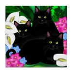 BLACK CATS CALLAS GARDEN Tile Coaster