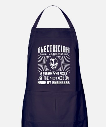 Electrician Who Fixes The Mistakes T Apron (dark)