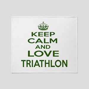 Keep calm and love Triathlon Throw Blanket