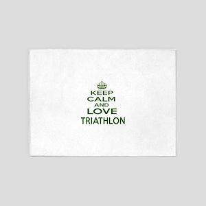 Keep calm and love Triathlon 5'x7'Area Rug