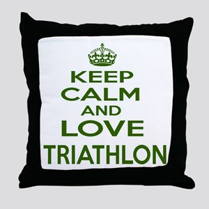 Keep calm and love Triathlon Throw Pillow