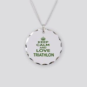 Keep calm and love Triathlon Necklace Circle Charm
