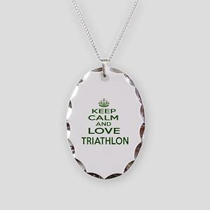 Keep calm and love Triathlon Necklace Oval Charm
