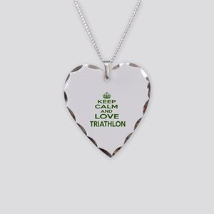Keep calm and love Triathlon Necklace Heart Charm