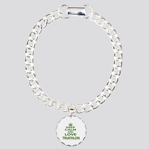 Keep calm and love Triat Charm Bracelet, One Charm