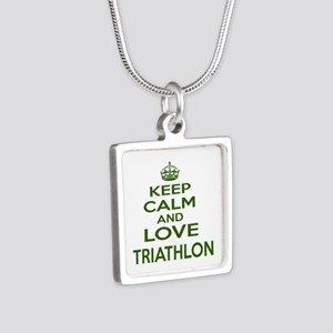 Keep calm and love Triathl Silver Square Necklace