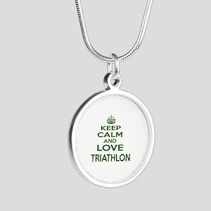 Keep calm and love Triathlon Silver Round Necklace