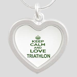 Keep calm and love Triathlon Silver Heart Necklace