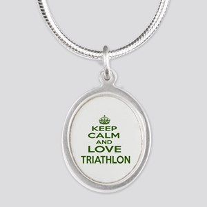 Keep calm and love Triathlon Silver Oval Necklace