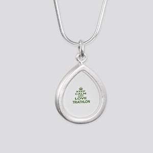 Keep calm and love Triat Silver Teardrop Necklace