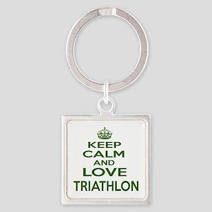 Keep calm and love Triathlon Square Keychain