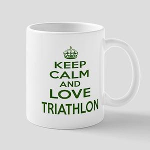 Keep calm and love Triathlon 11 oz Ceramic Mug