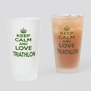 Keep calm and love Triathlon Drinking Glass