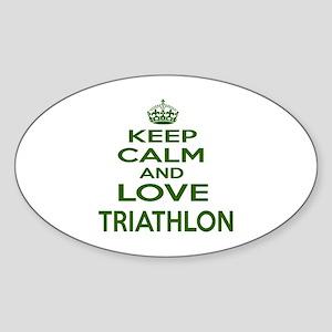 Keep calm and love Triathlon Sticker (Oval)