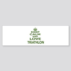Keep calm and love Triathlon Sticker (Bumper)