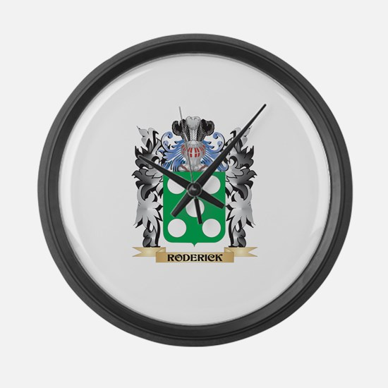 Roderick Coat of Arms - Family Cr Large Wall Clock