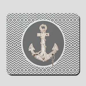shabby chic anchor chevron Mousepad