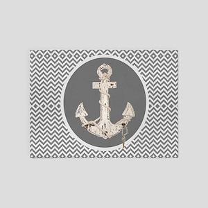 shabby chic anchor chevron 5'x7'Area Rug