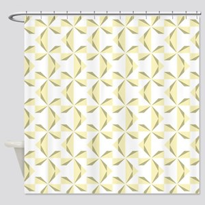 Sage and Cream Pinwheels Shower Curtain