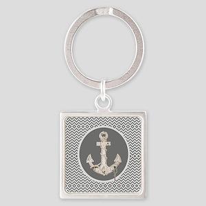 shabby chic anchor chevron Keychains