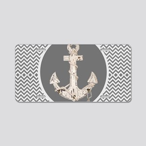 shabby chic anchor chevron Aluminum License Plate