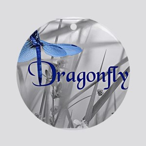 Blue Dragonfly Round Ornament