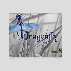 Blue Dragonfly Throw Blanket