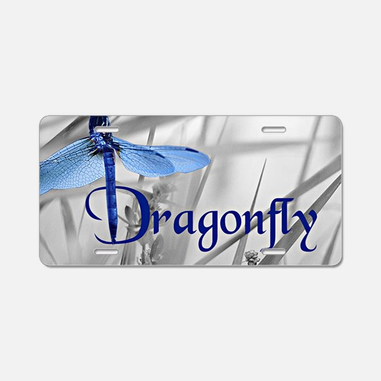 Blue Dragonfly Aluminum License Plate