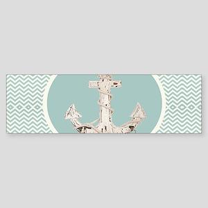 anchor teal turquoise chevron Bumper Sticker