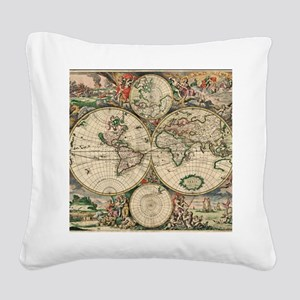 Antique World Map Square Canvas Pillow