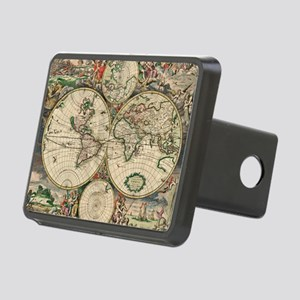 Antique World Map Rectangular Hitch Cover