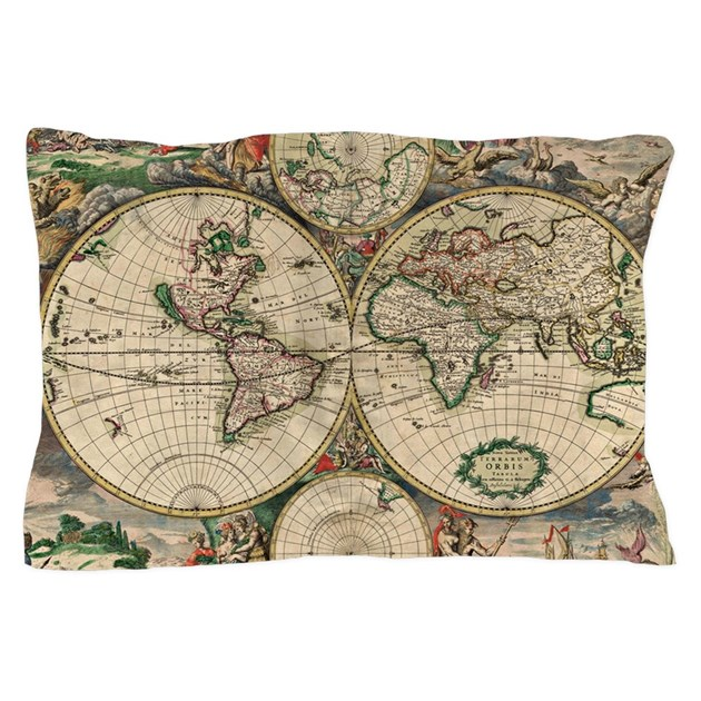 Antique World Map Pillow Case By Listing Store 12474241