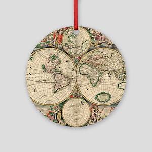 Antique World Map Round Ornament