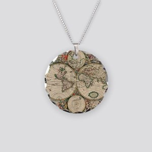 Antique World Map Necklace Circle Charm
