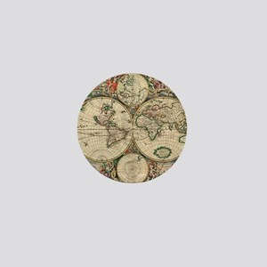 Antique World Map Mini Button