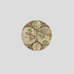 Antique World Map Mini Button