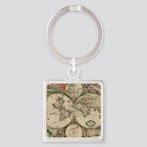 Antique World Map Square Keychain