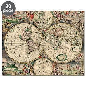 Antique World Map Puzzle.World Map Puzzles Cafepress