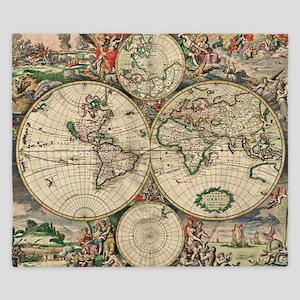 Antique World Map King Duvet