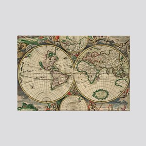 Antique World Map Rectangle Magnet