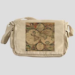 Antique World Map Messenger Bag