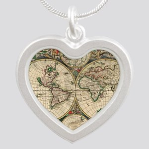 Antique World Map Silver Heart Necklace
