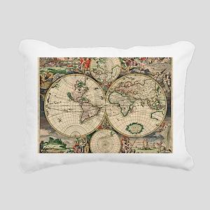 Antique World Map Rectangular Canvas Pillow